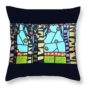 Quilted Birch Garden Throw Pillow