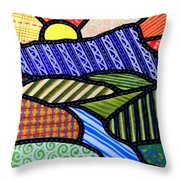 Quilted Mountain Sunrise Throw Pillow