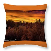 Quilted Orange Skies Throw Pillow
