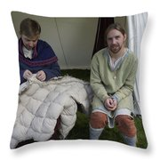 Quilters At Work Throw Pillow