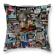 Quincy, Il Collage Throw Pillow