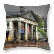 Quincy Market On A Wet Day Throw Pillow