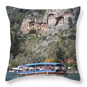 Quintessentially Dalyan River Boats And Rock Tombs Throw Pillow
