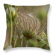 Quirky Red Squiggly Flower 2 Throw Pillow
