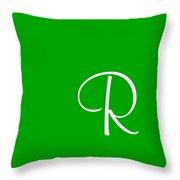R In White Simple Script Throw Pillow