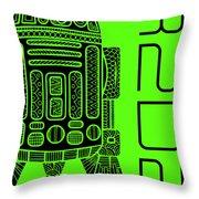R2d2 - Star Wars Art - Green Throw Pillow