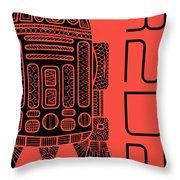 R2d2 - Star Wars Art - Red Throw Pillow