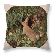 Rabbit Amid Ferns And Flowering Throw Pillow