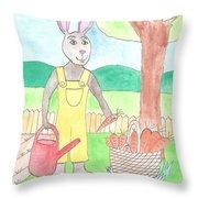Rabbit Gardening In The Kitchen Garden Throw Pillow