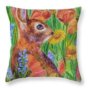 Rabbit In Meadow Throw Pillow