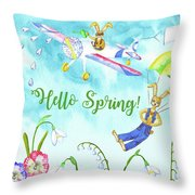 Rabbits And Flowers Throw Pillow