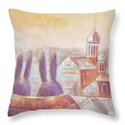 Rabbits In Rome Throw Pillow