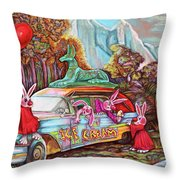 Rabbits Selling Ice Cream From A Hearse Throw Pillow