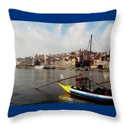 Rabelo Boats On River Douro In Porto 03 Throw Pillow