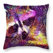 Raccoon Animal Cute Mammal  Throw Pillow