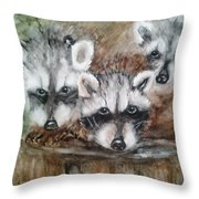 Raccoon Babies By Christine Lites Throw Pillow