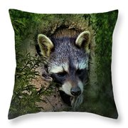 Raccoon In A Log Throw Pillow