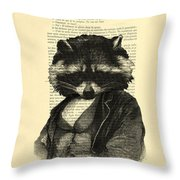 Raccoon Portrait, Animals In Clothes Throw Pillow