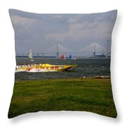 Race Boat In Charleston Throw Pillow