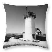 Race Point Lighthouse Black And White Photo Print Throw Pillow