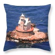 Race Rock Lighthouse Throw Pillow