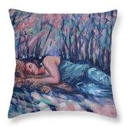 Rachel In The Sun-splattered Forest Throw Pillow