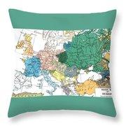 Racial Map Of Europe Circa 1923 Throw Pillow