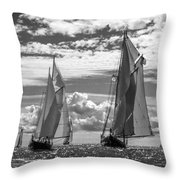 Racing On Open Waters B-w Throw Pillow