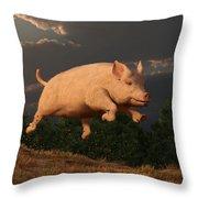 Racing Pig Throw Pillow