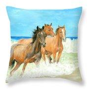Racing The Surf Throw Pillow