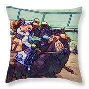 Racing To The Finish Line Throw Pillow