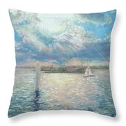 Racing Yachts Past Snapper Island Throw Pillow