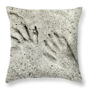Racoon Tracks At The River Throw Pillow