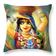 Radha And Bumblebee Throw Pillow by Lila Shravani