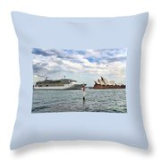 Radiance Of The Seas Passing Opera House Throw Pillow