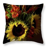 Radiant Sunflowers And Peruvian Lilies Throw Pillow
