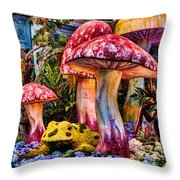 Radioactive Mushrooms Throw Pillow