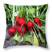 Radish Harvest Throw Pillow