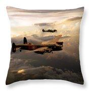 Raf Lancaster And Spitfire Throw Pillow