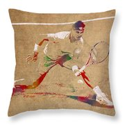 Rafael Nadal Tennis Star Watercolor Portrait On Worn Canvas Throw Pillow