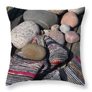 Rag Rugs With Stones And The Dock 3 Throw Pillow