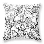 Ragdoll Kitten - Coloring Image Throw Pillow