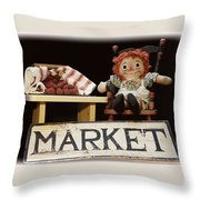 Raggedy Ann Selling Raspberries Throw Pillow