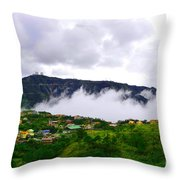 Raging Clouds On The Village Throw Pillow