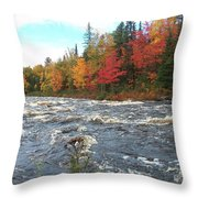 Raging Michigamme River Throw Pillow