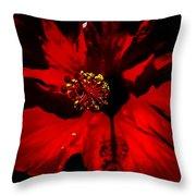 Raging Red Hibiscus Throw Pillow