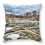 Raging Royal River Throw Pillow