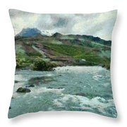 Raging Water Streams In The Hills Throw Pillow