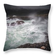Raging Waves On The Oregon Coast Throw Pillow