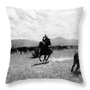Raguero Cutting Out A Cow From The Herd Throw Pillow